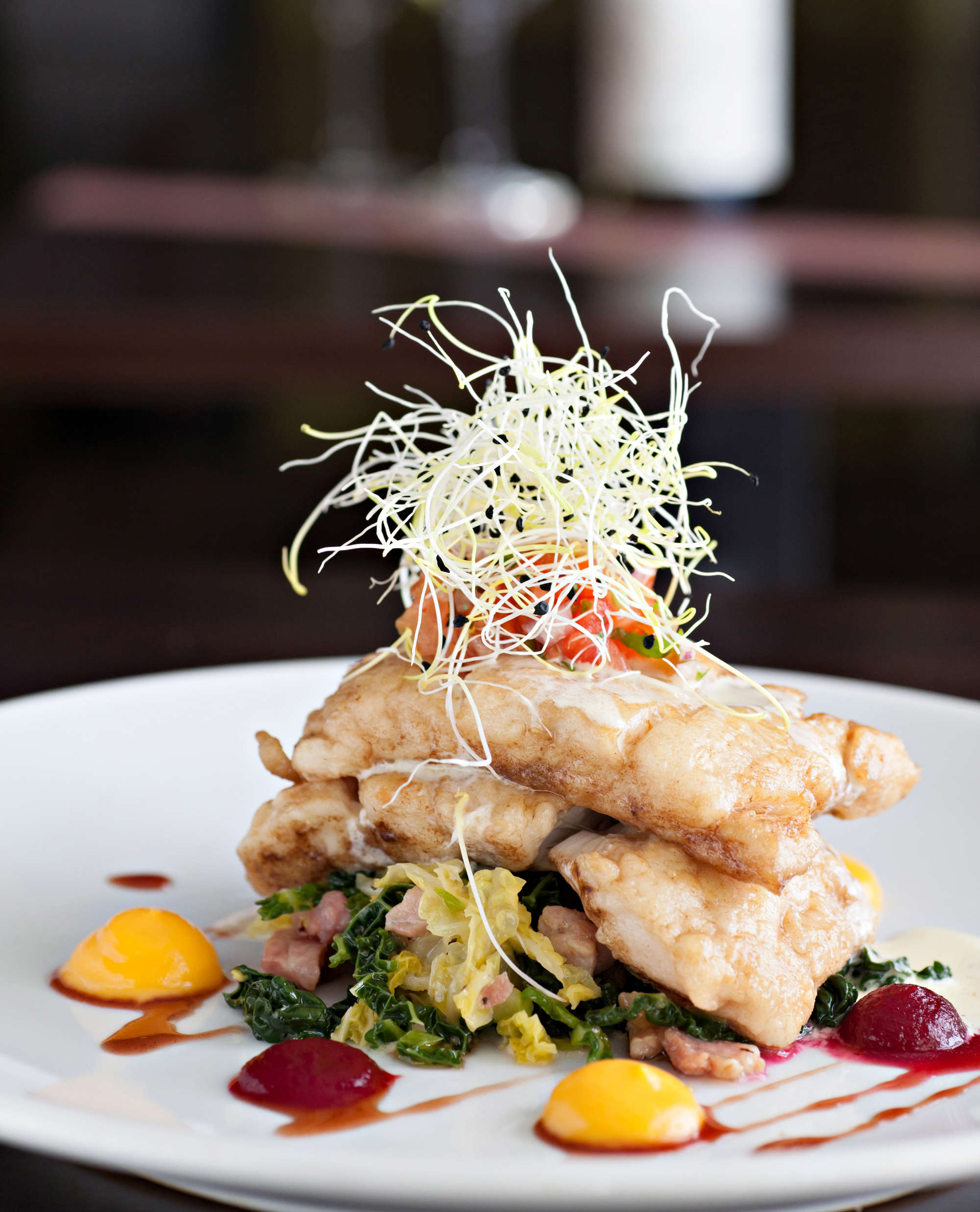 Roast Union Hall Hake, Truffled Savoy Cabbage with crispy lardons, Butternut Squash Puree, Beetroot & Orange Jam