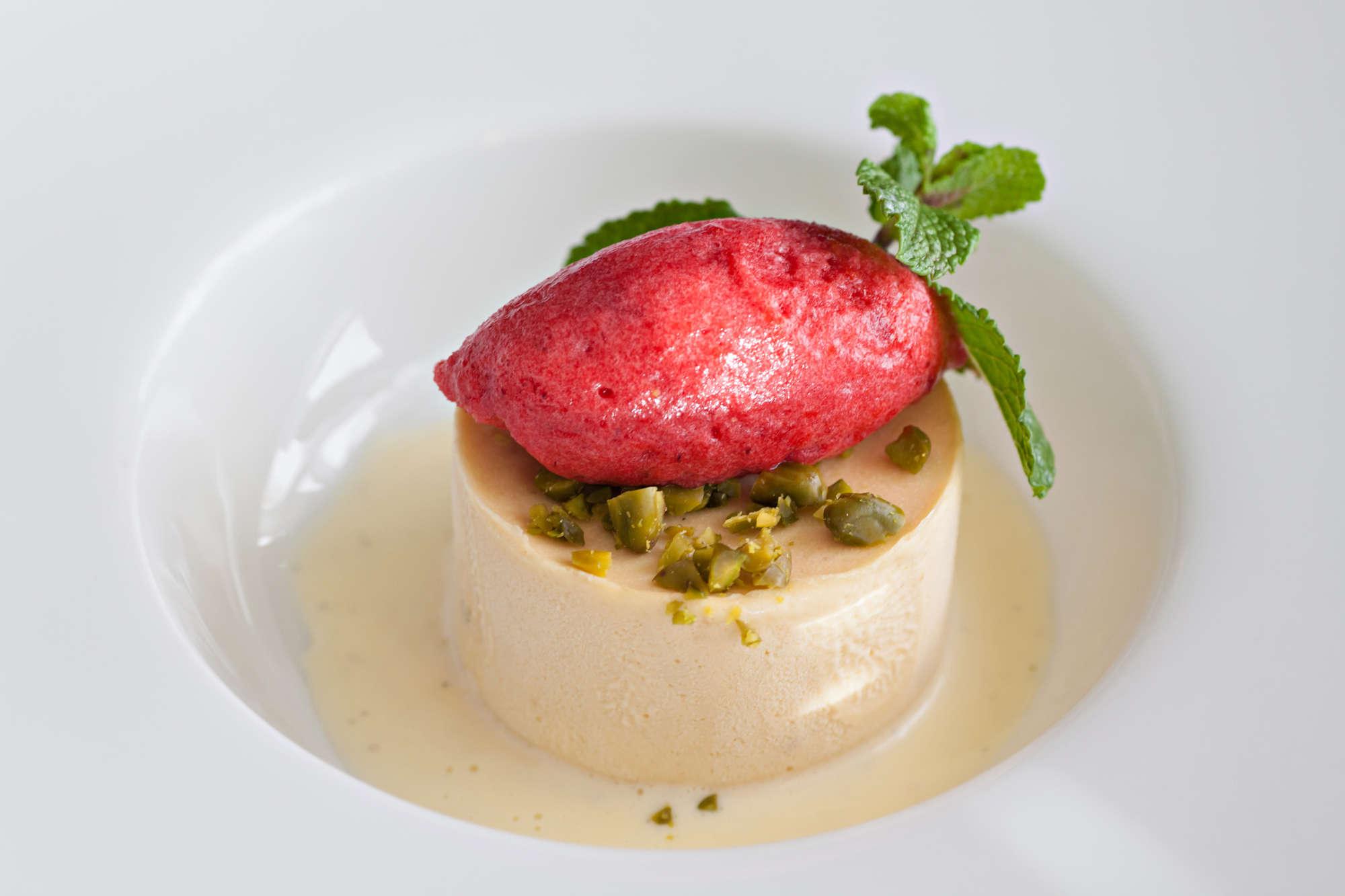 Peanut Parfait, Raspberry sorbet, crushed pistachio